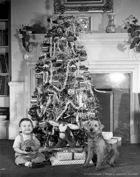 1950s christmas tree with boy and dog baby boomers