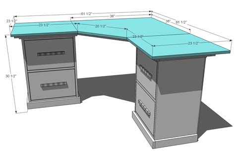 how to build a corner desk ana white office corner desktop plans diy projects