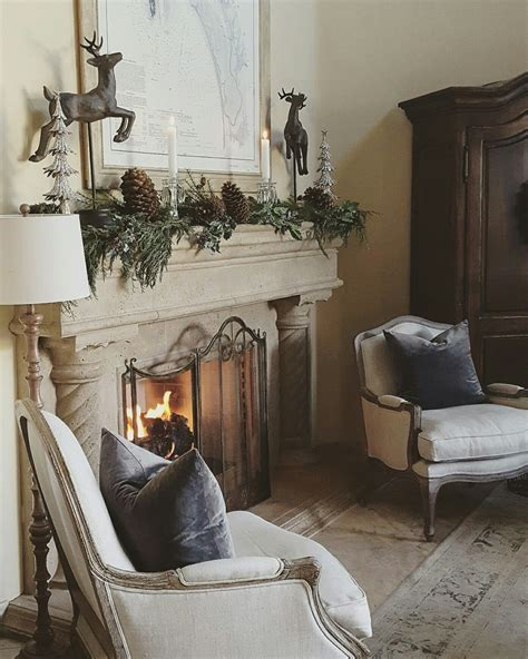european farmhouse christmas stone fireplace living