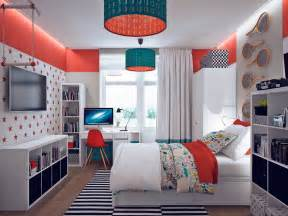 colorful orange and teal kids bedroom interior design ideas