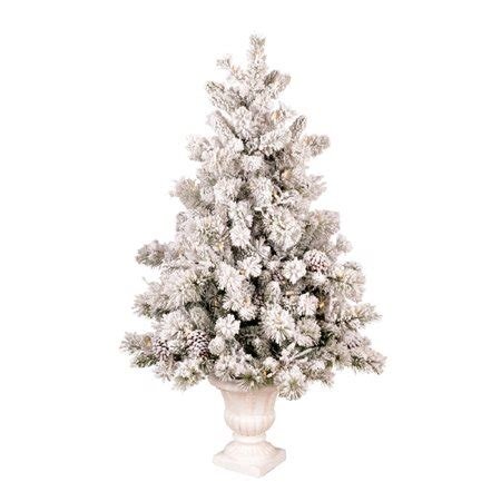 4 5 ft pre lit pine flocked white artificial tree walmart