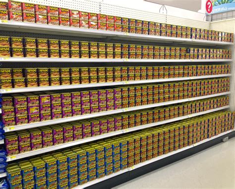 an aisle of spam in kailua hawaii mildlyinteresting