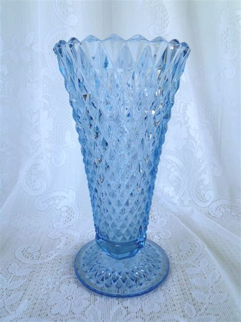 Indiana Glass Vases by Vintage Blue Depression Vase Indiana Glass By Leadmeaway
