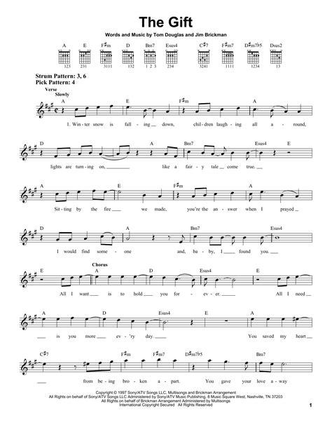 lyrics jim brickman chords the gift sheet by jim brickman easy guitar 24817