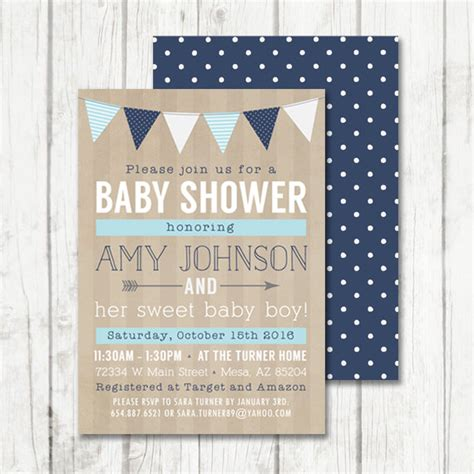 rustic baby boy shower baby boy shower invitation rustic baby shower invitation