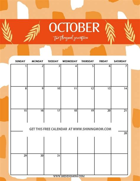 printable calendar 2018 fun october 2018 calendar printable cute journalingsage com