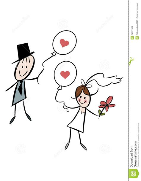 Cute cartoon bride and groom with balloons stock images image 24627584