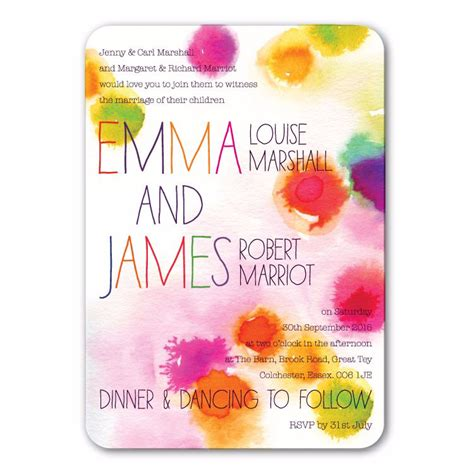 rainbow themed wedding invitations uk bright watercolour splash design from wedding
