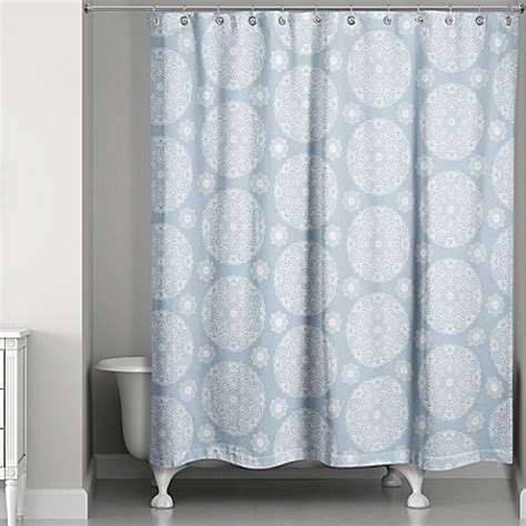 soft curtains medallions shower curtain in soft blue bed bath beyond