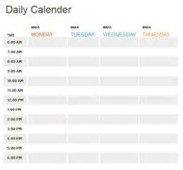 template for daily calendar daily calendar template 2016