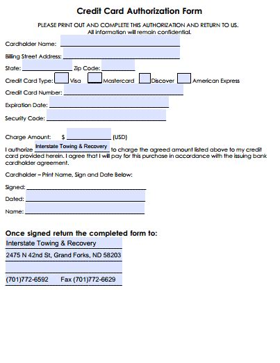 credit card authorization template in email forms and downloads interstate towing recovery
