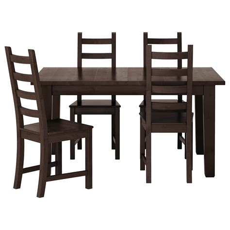kaustby storn 196 s table and 4 chairs brown black 147 cm ikea