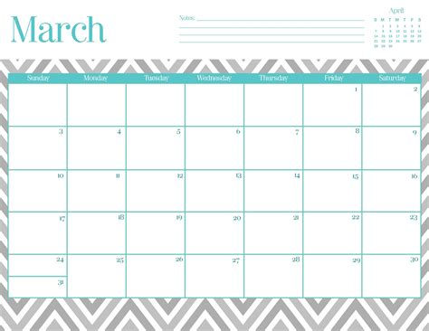 printable daily calendar march 2015 9 best images of free chevron printable calendar march