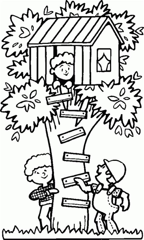 coloring page of a tree house playing in a treehouse free printable coloring pages