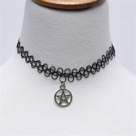 tattoo necklaces back in style pentagram round pendant elastic lace tattoo collar choker