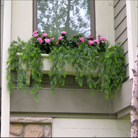 window box plants faux vines and flowers in a window box artificial plants