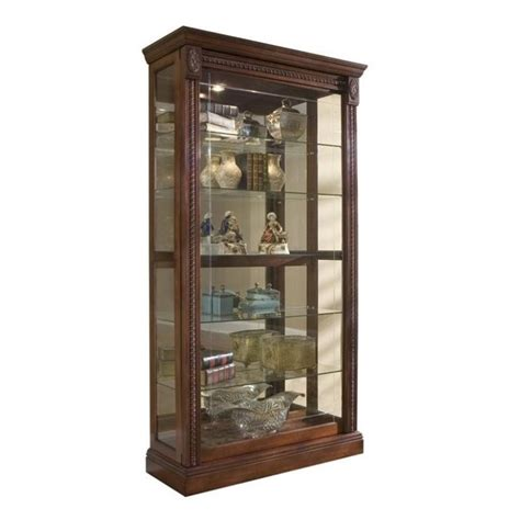 Pulaski Medallion Cherry Curio Cabinet Glass Display Wood Glass Door Curio Cabinet