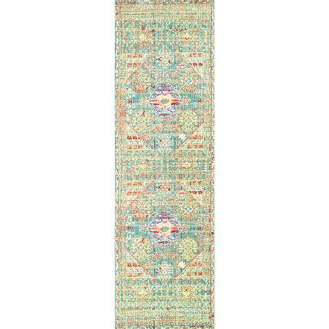 nuloom vintage floral kiyoko blue 8 ft x nuloom traditional vintage inspired overdyed floral runner area rugs 2 6 quot x 8 turquoise
