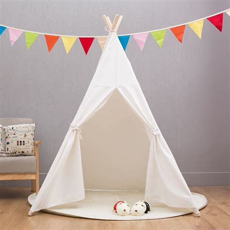 white house for kids four poles indian play tent cartoon children teepees kids