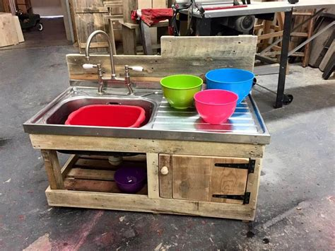 How To Build Rustic Cabinets Mud Kitchen Made From Pallets