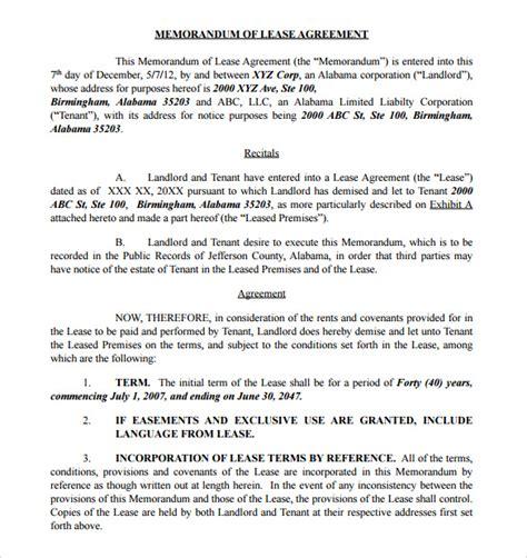 memorandum  lease agreement samples examples