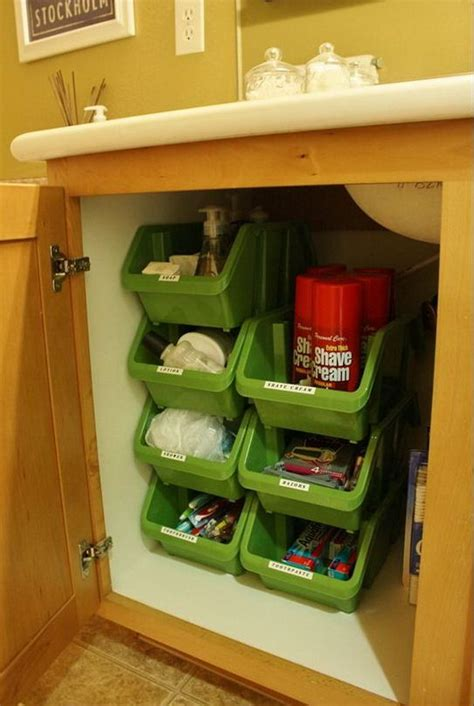 organize bathroom cabinets creative under sink storage ideas plastic bins bathroom