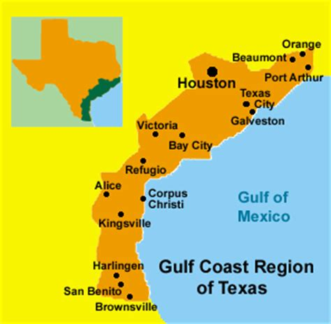 texas coastal cities map texas