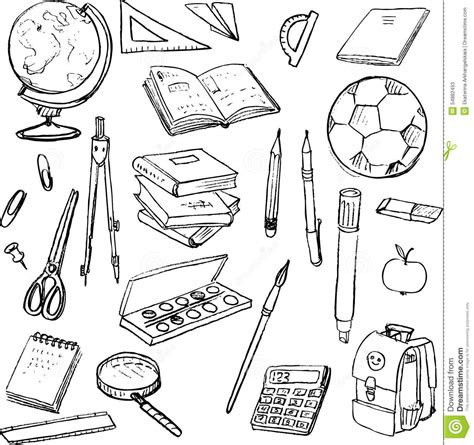 doodle tools set of school objects stock vector illustration of