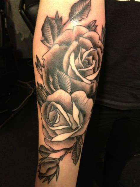 tattoos of black and gray roses on legs black grey