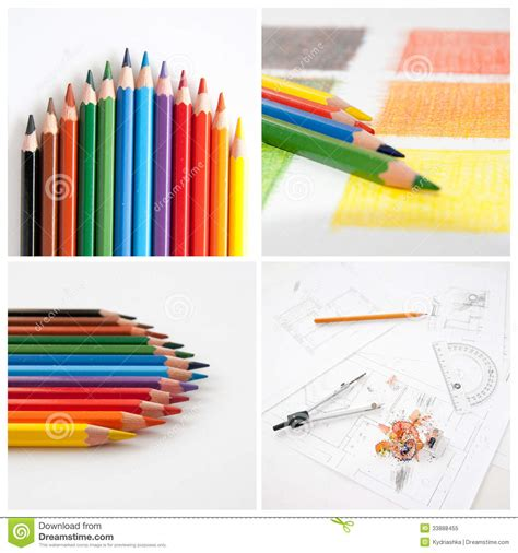 colorful pencils and office supplies collage stock photo colorful pencils collage for your design royalty free