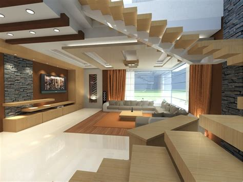 Big Modern Living Room by Modern Living Room Design With Wooden Stairs