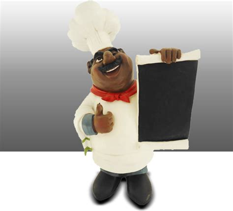 Black Chef Kitchen Decor by Black Chef Kitchen Statue With Menu Board Table Decor