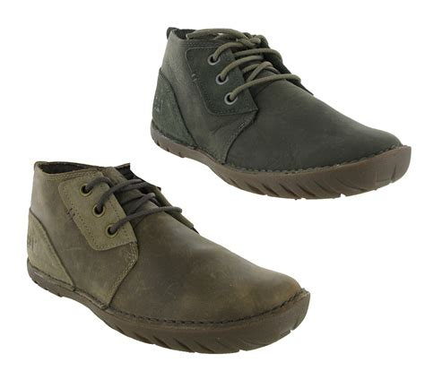 mens casual boots uk new mens caterpillar leroy mid leather casual ankle chukka