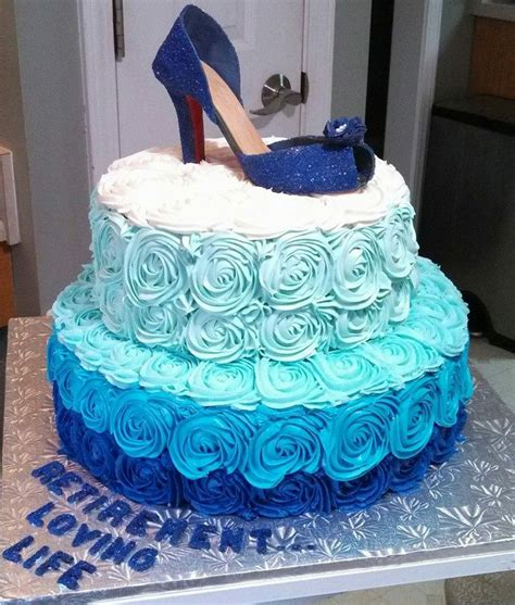 Merona Layer Cake Top Pink White Blue Blue Ombre Cake With Shoe On Top For A Retirement