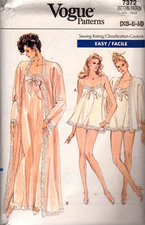vintage undergarments pattern vogue 7372 1980s misses peignoir nightgown panties pattern