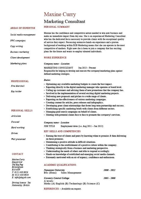 Marketing consultant resume, example, sample, references