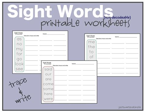 Free Printable Kindergarten Sight Word Worksheets by Just Sweet And Simple Preschool Practice Sight Word
