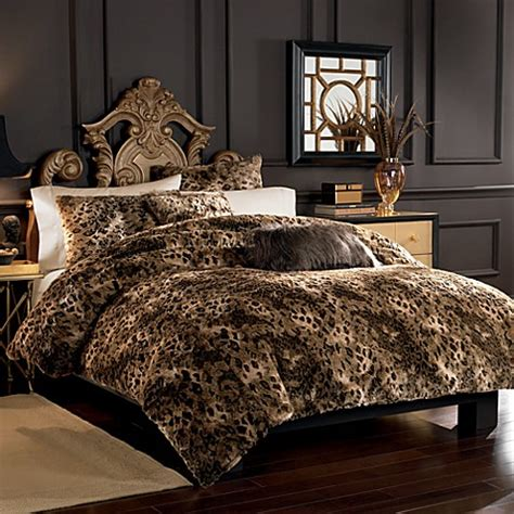 living animal print duvet cover set kingsize lynx faux fur duvet cover set bed bath beyond