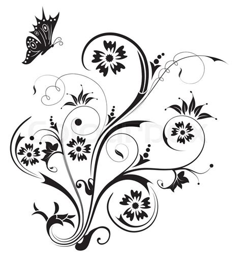 Kaos Flowery White abstract floral chaos with butterfly element for design