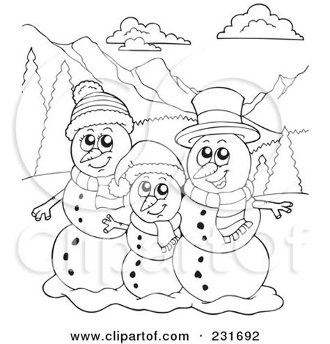 coloring page snowman family royalty free rf clipart illustration of a coloring page