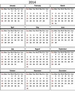 2014 Calendar With Holidays Yearly Calendar With Holidays Listed New Calendar