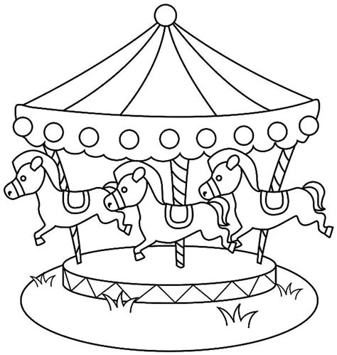 sea decorated theme carousel horse coloring pages sea