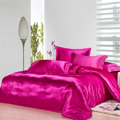 Hot Pink Silk Bedding Set Satin Sheets Luxury Queen Full Cheap Silk Bed Sets