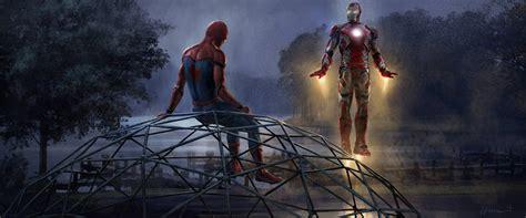 iron man spiderman artwork hd movies