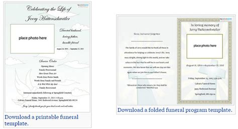 sle memorial program template display bifold plain