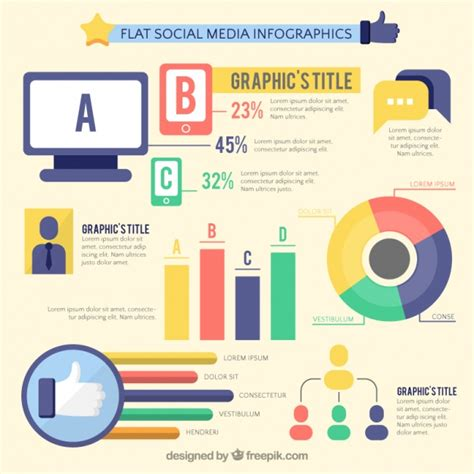 Flat Infographic Template Of Social Media Vector Free Download Free Social Media Graphic Templates
