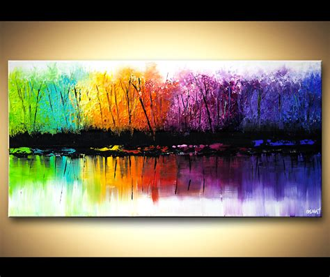 colorful painting landscape painting colorful reflection seasons abstract
