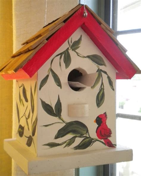 painted bird houses designs cardinal hand painted bird house by catherineklassen on etsy 38 00 15 00 shipping