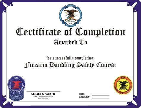 nra certificate template nra certificate template safety firearms the free