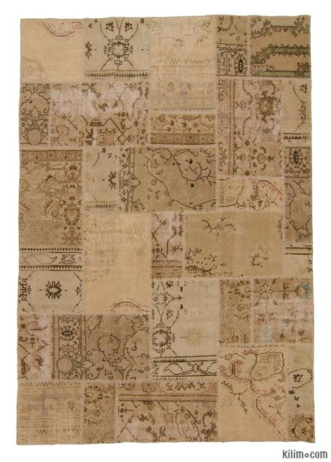 Overdyed Patchwork Rug - k0006097 beige dyed turkish patchwork rug